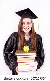 young female college student holding a large stack of books with a small piggy bank broke college student