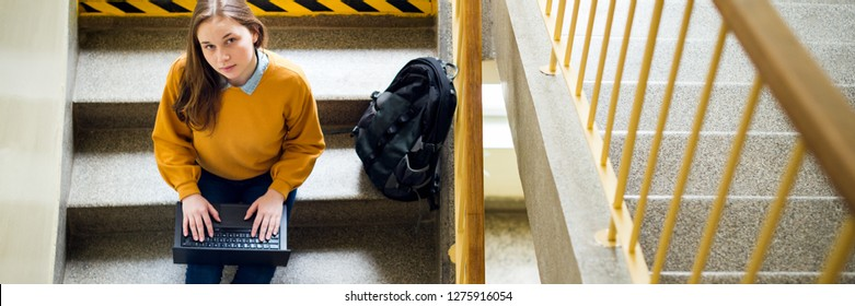 Young female college student sitting on stairs at school, writing essay on her laptop and looking up at the camera. Education concept. View from above.