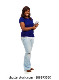 A young female college student talking on phone on a white background
