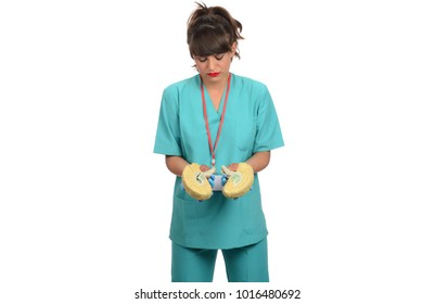 young female doctor holding human brain. medical concept.health and medicare concept. isolated