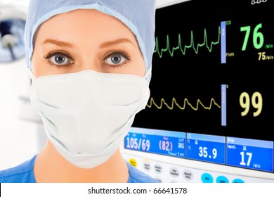 young female doctor in intensive care unit with ECG monitor