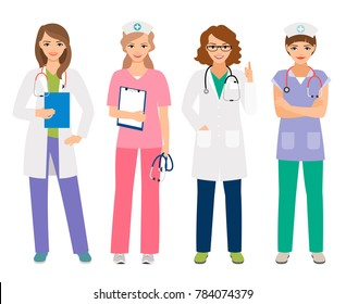 Young female doctor and woman nurse characters illustration. Smiling hospital workers, standing women portrait isolated on white