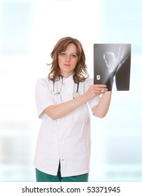young female Doctor with xray