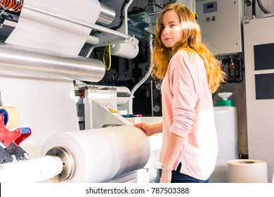 Young Female Engineer Printing Specialist Gravure Intaglio Printing Industrial Machine Industrial Production