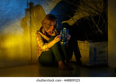 Young female explorer holding magic lantern in fantasy place
