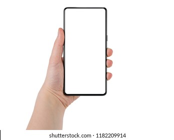 Young female hand holding bezel-less smartphone white screen isolated on white background