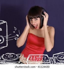 young female listen music in Headphones