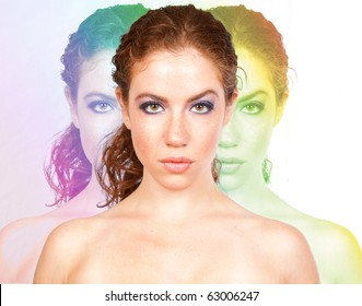 young female looking into cam with photoshop effects