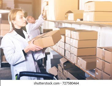 Young female and male transporting cart cardboard cases in storage
