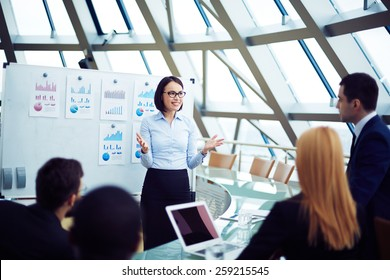 Young female manager holding briefing