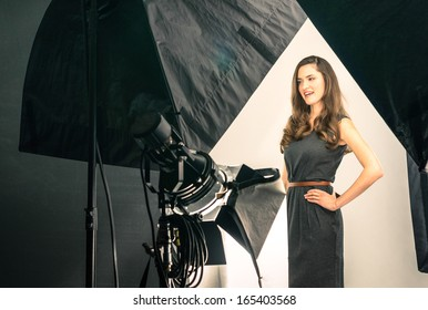 Young female model at photo shooting