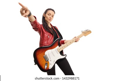 Young female musician with a bass electric guitar isolated on white background