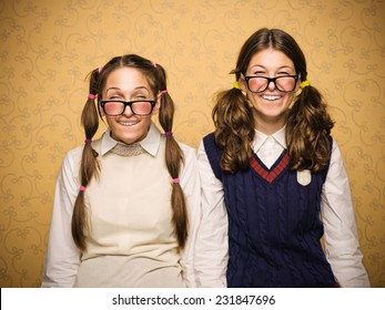 Young female nerds