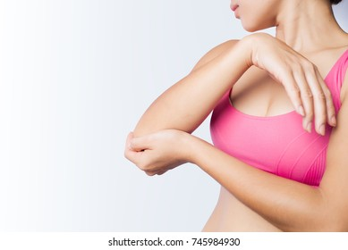 young female pain right elbow, tennis elbow or epicondylitis concept on white background