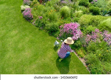 Young female planting flower in garden,aerial view