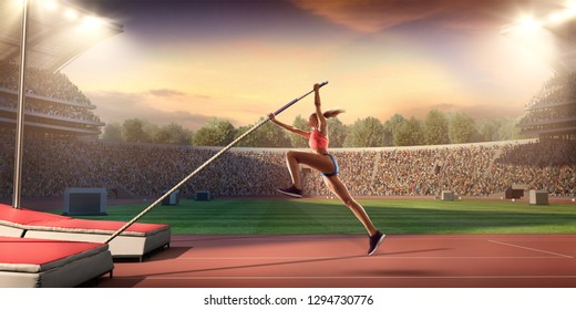 Young female pole vault athlete with pole bar. Women in sport clothes at athletic sport track in professional stadium - Shutterstock ID 1294730776