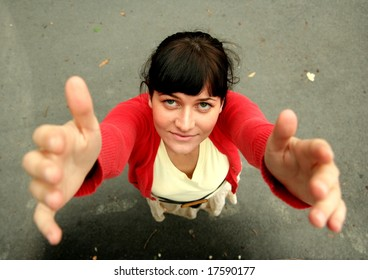 Young female - raising hands for help / hug
