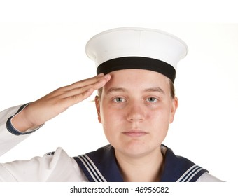 young female sailor saluting isolated on white