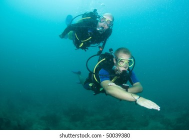 young female scuba diver swims over reef