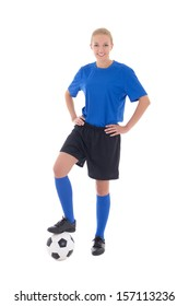 young female soccer player in blue uniform with ball isolated on white background