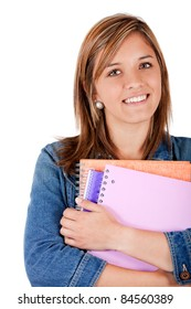 Young female student holding notebooks - isolated over white