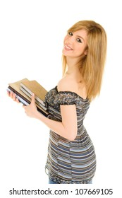 Young female student holding, reading and studying on book series