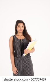 young female student on white background