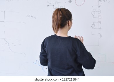 Young female student writting on the chalkboard.