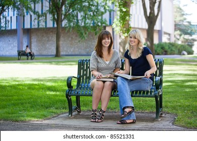 Young female students sitting on a bench on college campus
