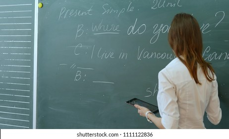 Young female teacher in school classroom talking to class on english lesson.