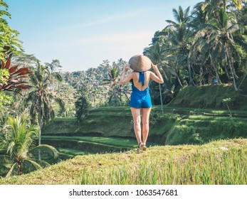 Young female in traditional Asian conical hat enjoying view on Balinese rice terraces at sunny morning in jungles.