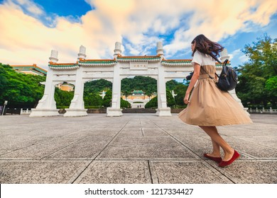 Young female travelers visit National Palace Museum(Gu gong museum) in Taipei, Taiwan