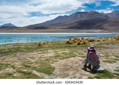 Young female traveller is using binoculars to see flamingos in the Bolivian Altiplano.