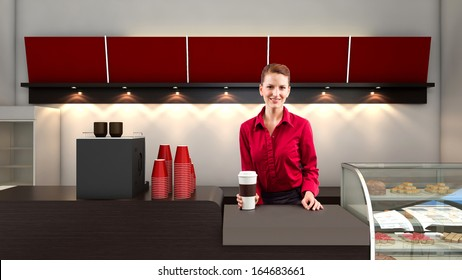 young female waitress behind the sales counter