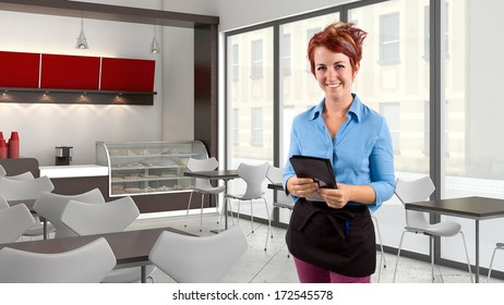 young female waitress in a coffeeshop or restaurant