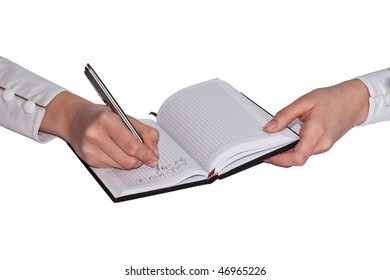 Young female is writing notes on a white background
