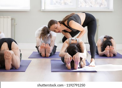 Young female yoga instructor teaching paschimottanasana pose, Seated forward bend exercise for a group of sporty people practicing in studio, working out indoor, teacher helping to master, full length