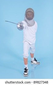 Young fencer with rapier