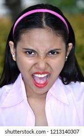 Young Filipina Juvenile And Anxiety