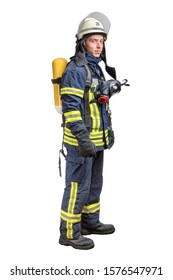 Young fireman with a mask and an air breathing apparatus on his back in a fully protective suit isolated on a white background