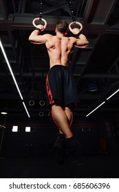 Young fit man pulling up on gymnastic rings. Bodybuilder in the gym is training, the dark background. Motivation. Back view. Pulled up. Biceps work.