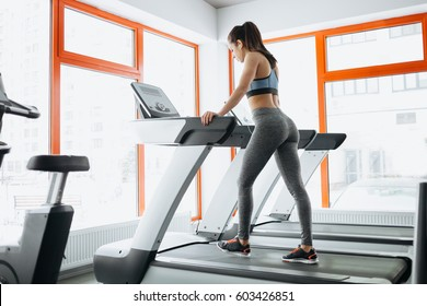 Young fit pretty woman doing exercises on the treadmill. Sporty girl with slim body running on the track machine. Back view