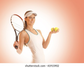 Young fit sexy female tennis player over red background