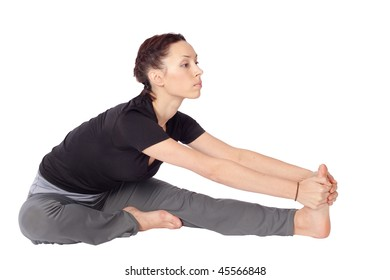 Young fit woman doing stretching exercise, isolated on white background.