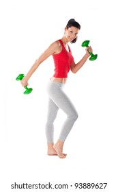 Young fit woman exercising with weights