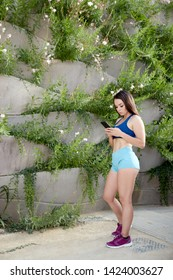 young and fit woman looking at the mobile phone in the park