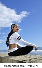 young fit woman smiling