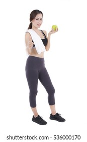 Young fitness woman with apple. asia