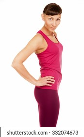 Young fitness woman back isolated over white background.