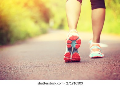 young fitness woman hiker legs at forest trail  - Shutterstock ID 271910303